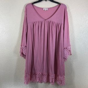 Indigo Rose Long Top Blouse w/Lace Pink NWT 2X